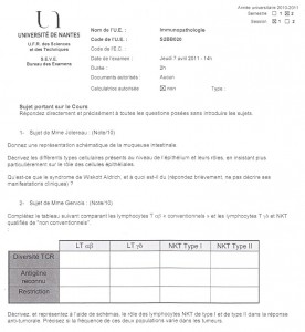 annales d'examen de M1 en immuno-pathologies